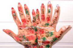 Painted hands, colorful fun. Creative concept Stock Images