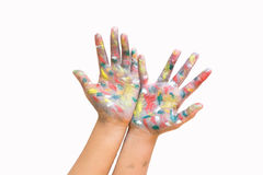 Painted hands, colorful fun. Creative, funny and artistic means. Happy! Isolated on white royalty free stock photo