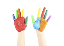 Painted hands, colorful fun. Creative,. Painted hands, colorful fun. Creative on the white background stock photo