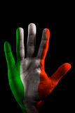 PAINTED HANDs FLAG's - Italy Green, White and Red Royalty Free Stock Image