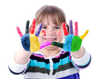 Painted hands of happy young girl Royalty Free Stock Photos