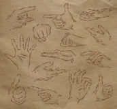 Painted hands kraft. Painted hands drinks in vintage style stylized drawing with kraft paper Stock Photography