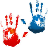 Painted hands. Logo image background Stock Photo