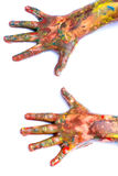 Painted hands over white. Stock Photography