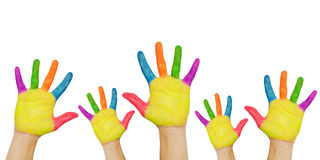 Painted hands raised up. Royalty Free Stock Images