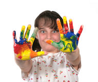 Painted Hands Ready to Make Hand Prints Royalty Free Stock Photo