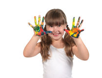 Painted Hands Ready to Make Hand Prints Stock Photo