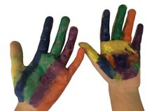 Painted hands with watercolor isolated on white background. Painted hands with watercolor isolated on white background with clipping path stock images