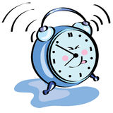 Painted happy alarm clock ringing Royalty Free Stock Images