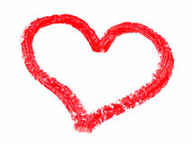 Painted heart. Red lipstick-painted heart on a white background Royalty Free Stock Photography