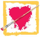Painted heart with brush. Vector heart with brush as arrow Stock Photo