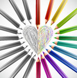 Painted heart with color pencils. Vector Royalty Free Stock Photo