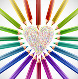 Painted heart with color pencils. Vector Royalty Free Stock Images