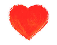 Painted heart. Drawn heart on a white background Stock Images
