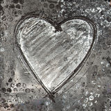 Painted heart gray and black Royalty Free Stock Images