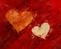 Painted heart on red background. S Stock Photos