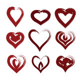 Painted heart set vector. Creative design abstract painted heart symbol vector set Royalty Free Stock Image