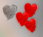Painted heart shape on paper cutting on grey background Royalty Free Stock Photos