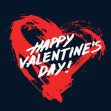 Painted Heart Valentine Card. Valentines day background. Grunge painted heart shape on dark blue background and Happy Valentines Day lettering. Brush strokes and Royalty Free Stock Image