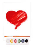 Painted heart, watercolor set and brush Stock Photos