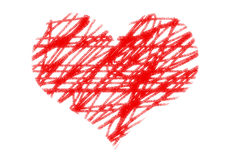 Painted heart on white paper background Stock Images