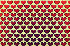 Painted hearts. Background of painted hearts set in vintage style Stock Image