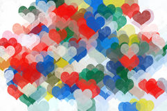 Painted hearts abstract illustration Royalty Free Stock Photo