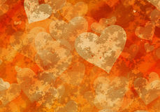 Painted hearts on a plaster wall Royalty Free Stock Photography