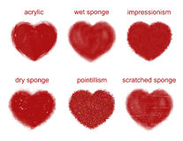 Painted hearts set. Royalty Free Stock Photos
