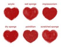 Painted hearts set. Royalty Free Stock Photos