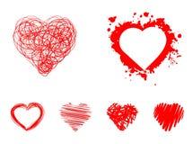 Painted hearts set Stock Photo