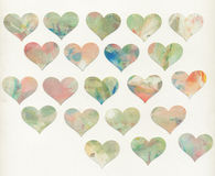 Painted hearts with white background Royalty Free Stock Image