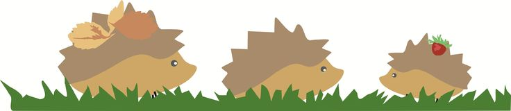 Painted hedgehogs walking on grass vector on white background. Vector hedgehogs pattern with leaves and strawberry on white background, cartoon, good character Stock Image