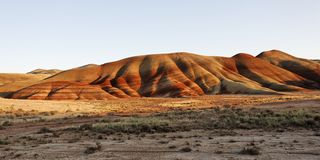 Painted hills in a high desert landscape Royalty Free Stock Photos