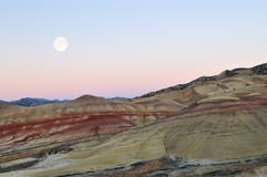 Painted Hills at moonrise Stock Photos