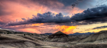 Painted Hills in Oregon Panorama at Sunset Stock Photos