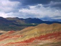 Painted Hills. Unusual sedimentary formations are part of John Day Fossil National Park stock photo