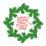 Painted holiday typography, Frame of Christmas fir tree branches. In circle shape  on white background. Merry Christmas and Happy New Year calligraphy Royalty Free Stock Photography