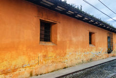Painted house, Antigua, Guatemala. Typical painted colonial style townhouse in colonial city & UNESCO World Heritage Site of Antigua royalty free stock images