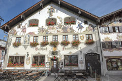 Painted house in Garmisch-Partenkirchen, Bavaria Royalty Free Stock Image