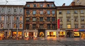 The Painted house in a historical city center of Graz at sunset, Austria stock photography