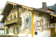 Painted house in Oberamergau, Germany Royalty Free Stock Images
