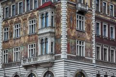 Painted house in Prague Stock Photography