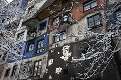 Painted house from vienna in winter Royalty Free Stock Images