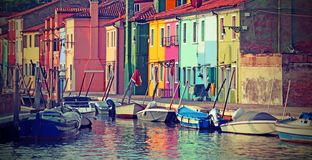 painted houses of Burano Island near Venice in Italy royalty free stock photography