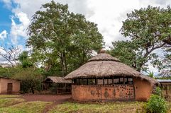 Painted houses in Omo NP Stock Image