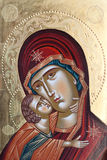Painted icon of Virgin Mary and Jesus Christ Royalty Free Stock Photos