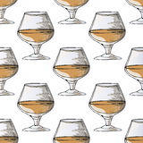 Painted illustration with drinks. A glass of brandy. Seamless pattern. Royalty Free Stock Photo