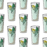 Painted illustration with drinks. A glass of mohito. Seamless pattern. Royalty Free Stock Images
