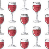 Painted illustration with drinks. Glass of red wine. Seamless pattern. Stock Images